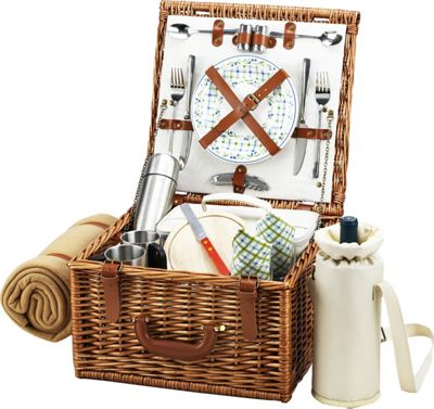 Picnic at Ascot Cheshire English-Style Willow Picnic Basket with Service for 2,  Coffee Set and Blanket Wicker w/Gazebo - Picnic at Ascot Outdoor Accessories