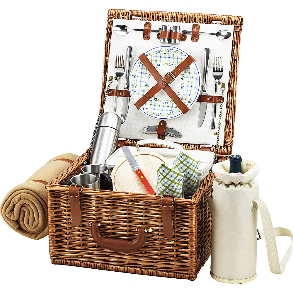 Picnic at Ascot Cheshire English-Style Willow Picnic Basket with Service for 2,  Coffee Set and Blanket Wicker w/Gazebo - Picnic at Ascot Outdoor Accessories - Outdoor, Outdoor Accessories