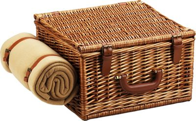 Picnic at Ascot Cheshire English-Style Willow Picnic Basket with Service for 2,  Coffee Set and Blanket Wicker w/Santa Cruz - Picnic at Ascot Outdoor Accessories
