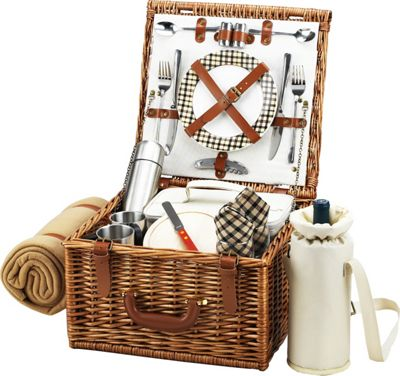 Picnic at Ascot Cheshire English-Style Willow Picnic Basket with Service for 2,  Coffee Set and Blanket Wicker w/London - Picnic at Ascot Outdoor Accessories