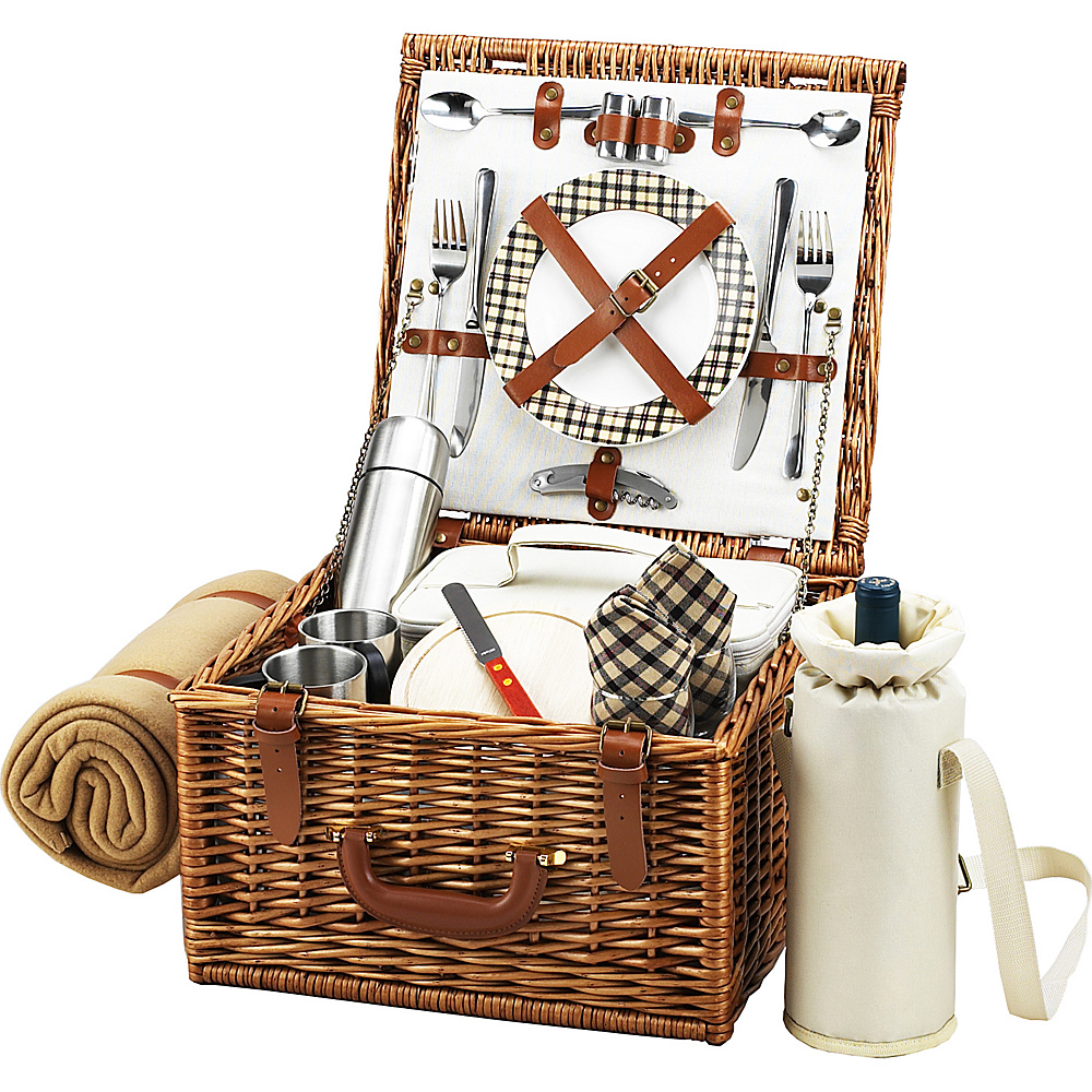 Picnic at Ascot Cheshire English-Style Willow Picnic Basket with Service for 2,  Coffee Set and Blanket Wicker w/London - Picnic at Ascot Outdoor Accessories - Outdoor, Outdoor Accessories