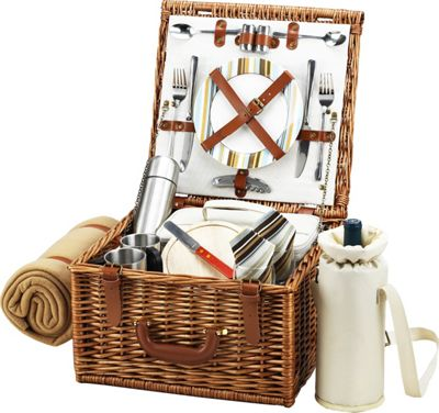 Picnic at Ascot Cheshire English-Style Willow Picnic Basket with Service for 2,  Coffee Set and Blanket Wicker w/Santa Cruz - Picnic at Ascot Outdoor Accessories 10475353