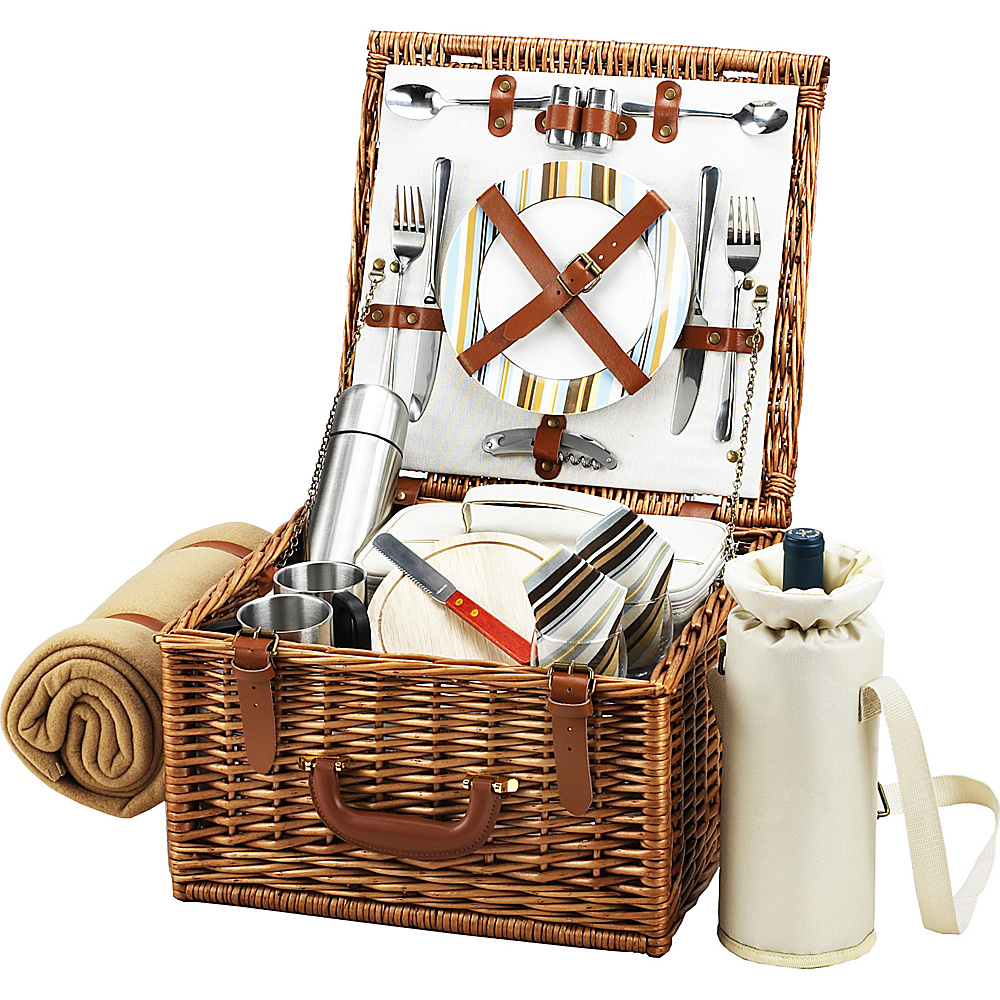 Picnic at Ascot Cheshire English-Style Willow Picnic Basket with Service for 2,  Coffee Set and Blanket Wicker w/Santa Cruz - Picnic at Ascot Outdoor Accessories - Outdoor, Outdoor Accessories