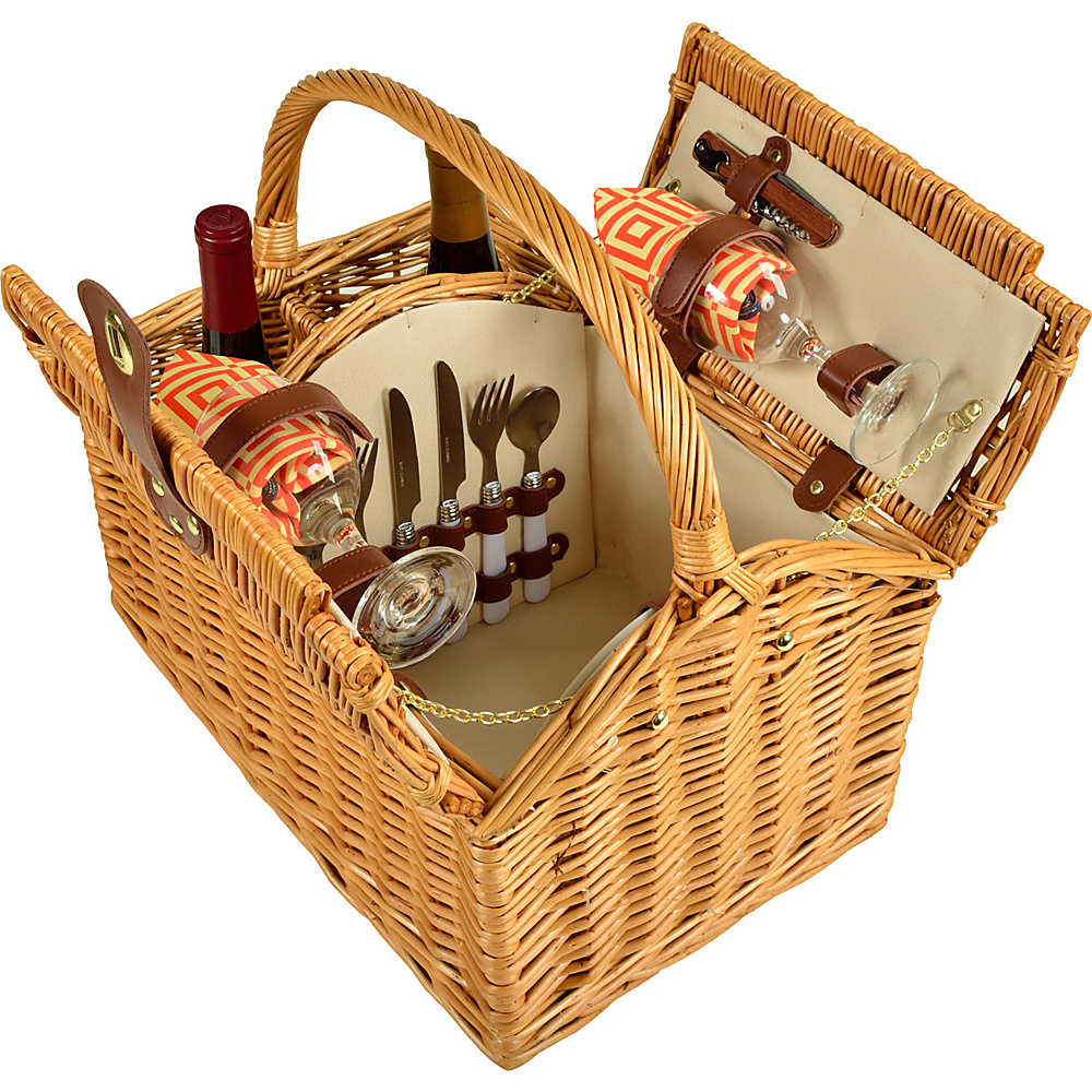 Picnic at Ascot Vineyard Willow Picnic Basket with service for 2 Natural/Diamond Orange - Picnic at Ascot Outdoor Accessories - Outdoor, Outdoor Accessories