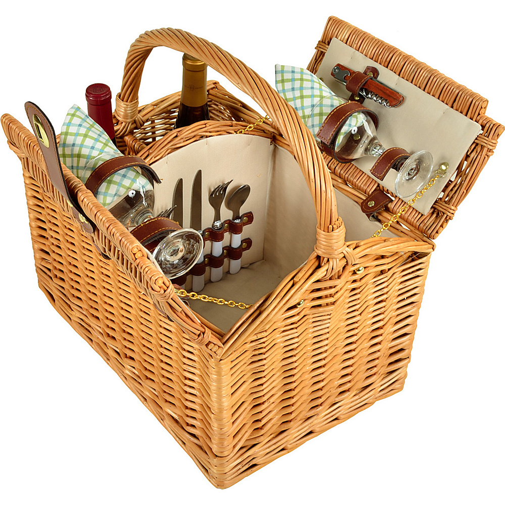 Picnic at Ascot Vineyard Willow Picnic Basket with service for 2 Natural/Gazebo - Picnic at Ascot Outdoor Accessories - Outdoor, Outdoor Accessories