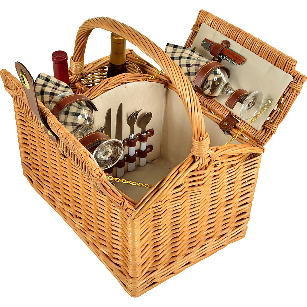 Picnic at Ascot Vineyard Willow Picnic Basket with service for 2 Natural/London - Picnic at Ascot Outdoor Accessories - Outdoor, Outdoor Accessories