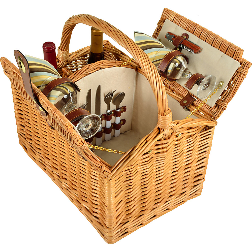 Picnic at Ascot Vineyard Willow Picnic Basket with service for 2 Natural/Santa Cruz - Picnic at Ascot Outdoor Accessories - Outdoor, Outdoor Accessories