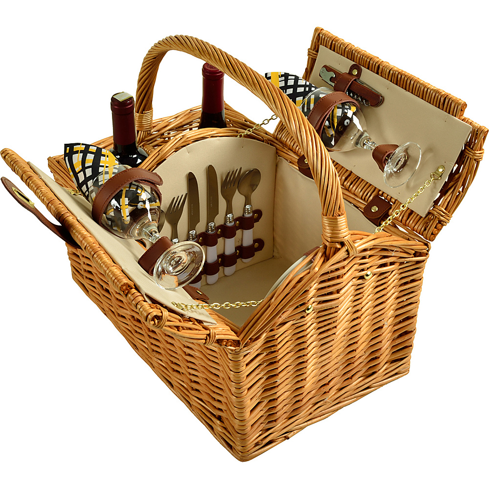 Picnic at Ascot Vineyard Willow Picnic Basket with service for 2 Natural, Paris - Picnic at Ascot Outdoor Accessories - Outdoor, Outdoor Accessories
