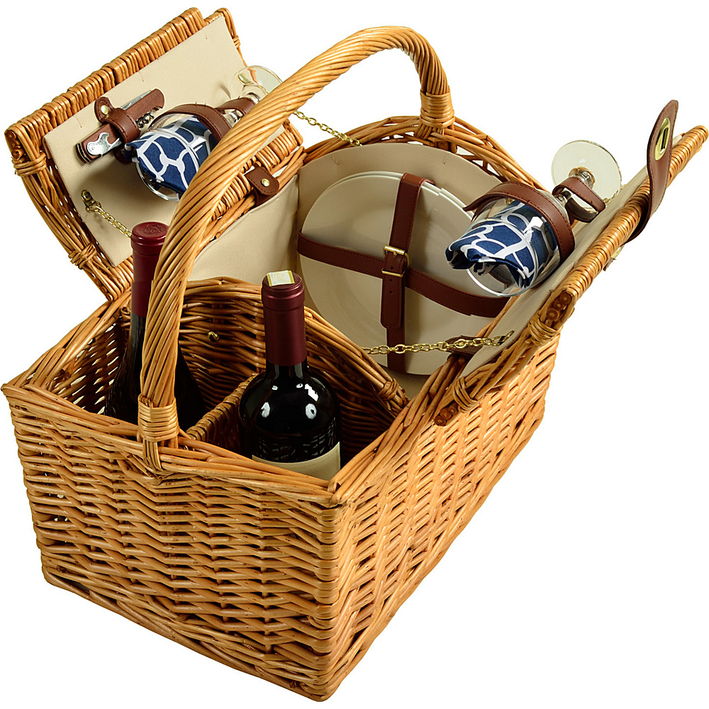 Picnic at Ascot Vineyard Willow Picnic Basket with service for 2 Natural, Trellis Blue - Picnic at Ascot Outdoor Accessories - Outdoor, Outdoor Accessories