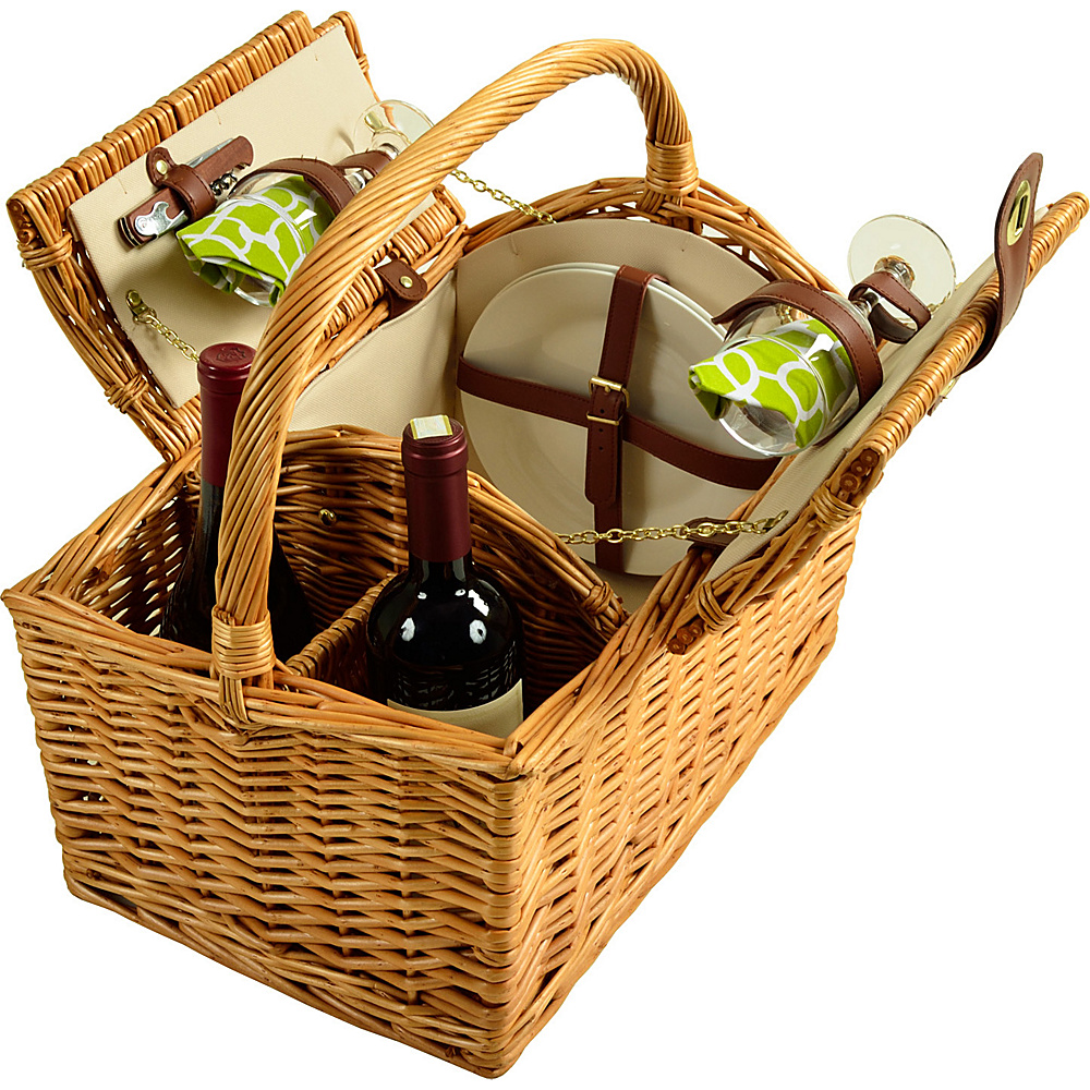 Picnic at Ascot Vineyard Willow Picnic Basket with service for 2 Natural, Trellis  Green - Picnic at Ascot Outdoor Accessories - Outdoor, Outdoor Accessories