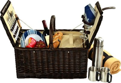 Picnic at Ascot Surrey Willow Picnic Basket with Service for 2 with Blanket and Coffee Set Brown Wicker/Blue Stripe - Picnic at Ascot Outdoor Accessories