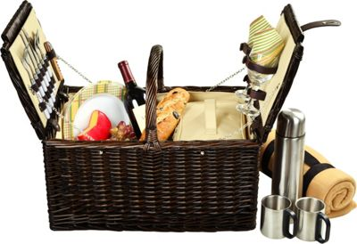 Picnic at Ascot Surrey Willow Picnic Basket with Service for 2 with Blanket and Coffee Set Brown Wicker/Hamptons - Picnic at Ascot Outdoor Accessories