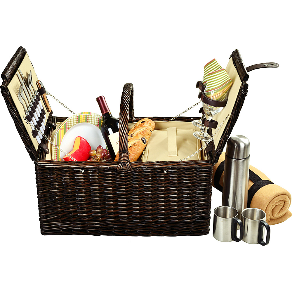 Picnic at Ascot Surrey Willow Picnic Basket with Service for 2 with Blanket and Coffee Set Brown Wicker/Hamptons - Picnic at Ascot Outdoor Accessories - Outdoor, Outdoor Accessories