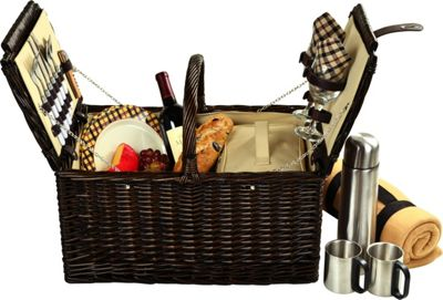 Picnic at Ascot Surrey Willow Picnic Basket with Service for 2 with Blanket and Coffee Set Brown Wicker/London Plaid - Picnic at Ascot Outdoor Accessories