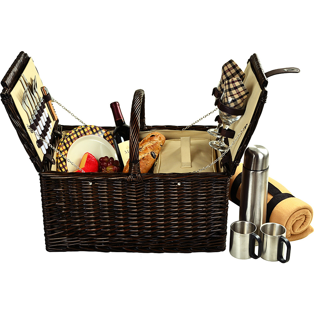 Picnic at Ascot Surrey Willow Picnic Basket with Service for 2 with Blanket and Coffee Set Brown Wicker/London Plaid - Picnic at Ascot Outdoor Accessories - Outdoor, Outdoor Accessories