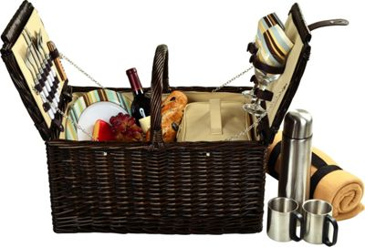 Picnic at Ascot Surrey Willow Picnic Basket with Service for 2 with Blanket and Coffee Set Brown Wicker/Santa Cruz - Picnic at Ascot Outdoor Accessories
