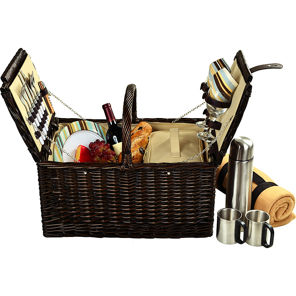 Picnic at Ascot Surrey Willow Picnic Basket with Service for 2 with Blanket and Coffee Set Brown Wicker Santa Cruz Picnic at Ascot Outdoor Accessories