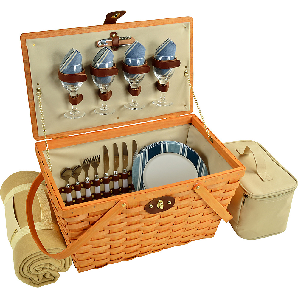 Picnic at Ascot Settler Traditional American Style Picnic Basket with Service for 4 & Blanket Honey/Aegean - Picnic at Ascot Outdoor Accessories - Outdoor, Outdoor Accessories