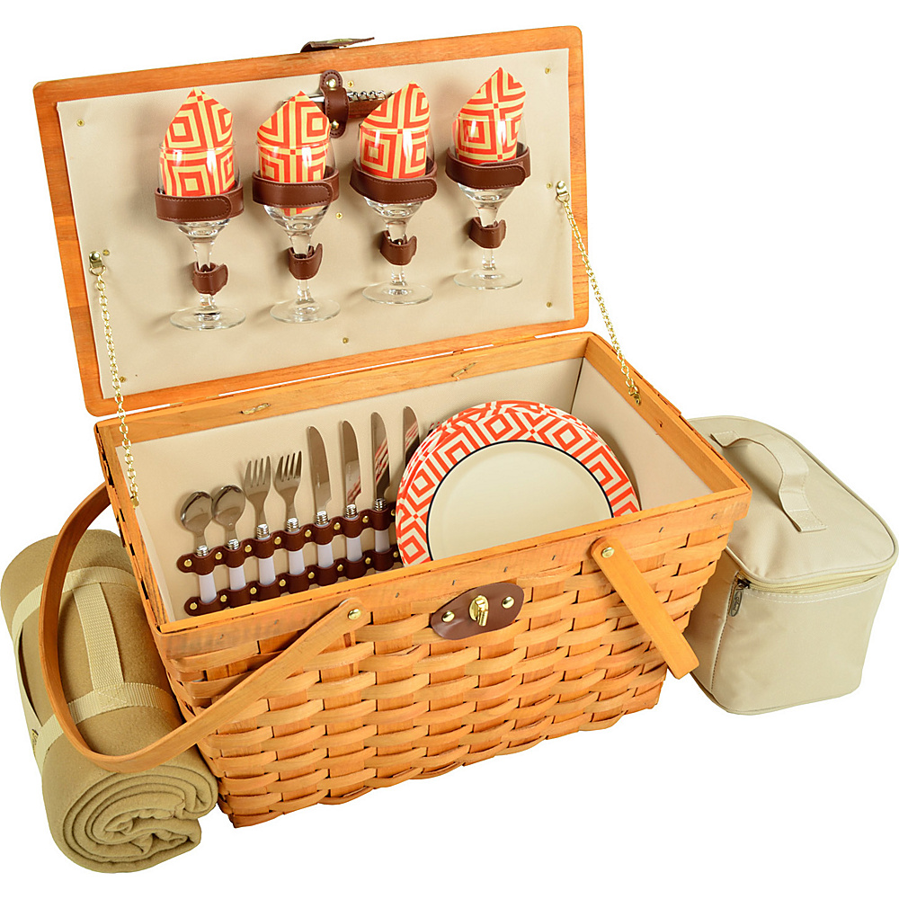 Picnic at Ascot Settler Traditional American Style Picnic Basket with Service for 4 & Blanket Honey/Diamond Orange - Picnic at Ascot Outdoor Accessories - Outdoor, Outdoor Accessories