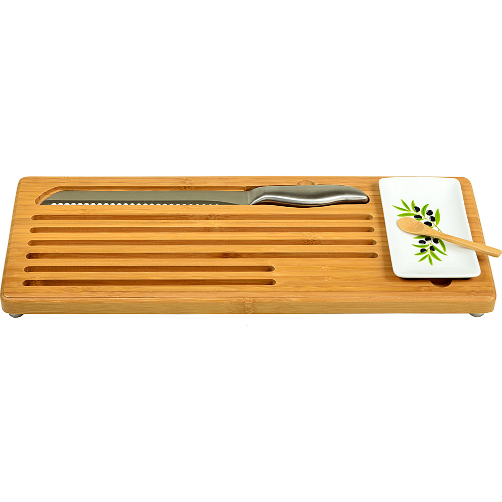 Picnic at Ascot Bamboo Bread with Bread Knife and Ceramic Butter Dish Bamboo - Picnic at Ascot Outdoor Accessories - Outdoor, Outdoor Accessories