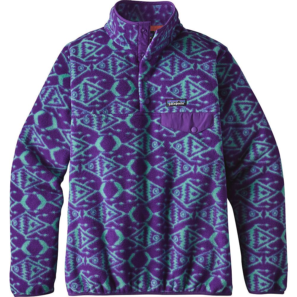 Patagonia Womens Lightweight Synch Snap-T Pullover XXS - Ikat Fish Big: Purple - Patagonia Womens Apparel - Apparel & Footwear, Women's Apparel