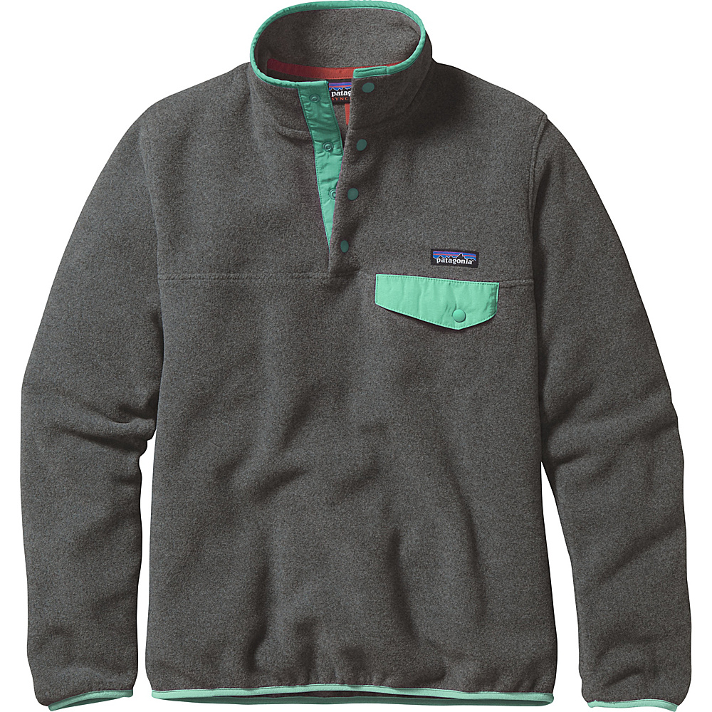 Patagonia Womens Lightweight Synch Snap-T Pullover S - Nickel with Galah Green - Patagonia Womens Apparel - Apparel & Footwear, Women's Apparel