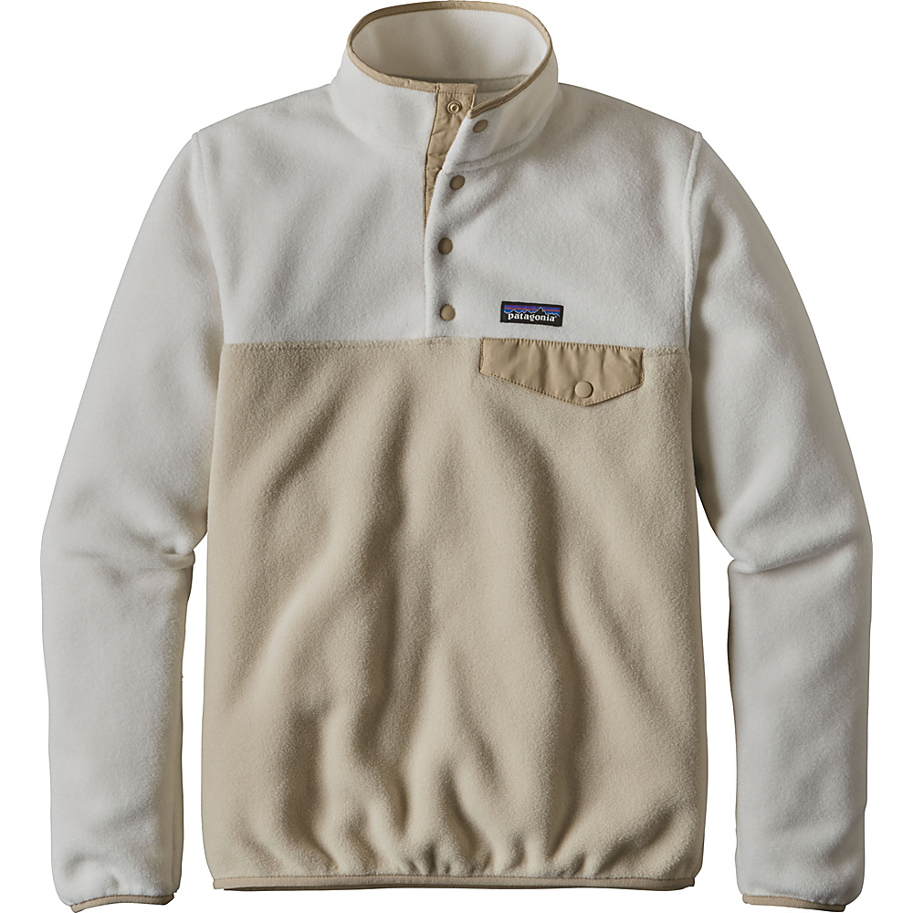 Patagonia Womens Lightweight Synch Snap-T Pullover M - Bleached Stone with El Cap Khaki - Patagonia Womens Apparel - Apparel & Footwear, Women's Apparel