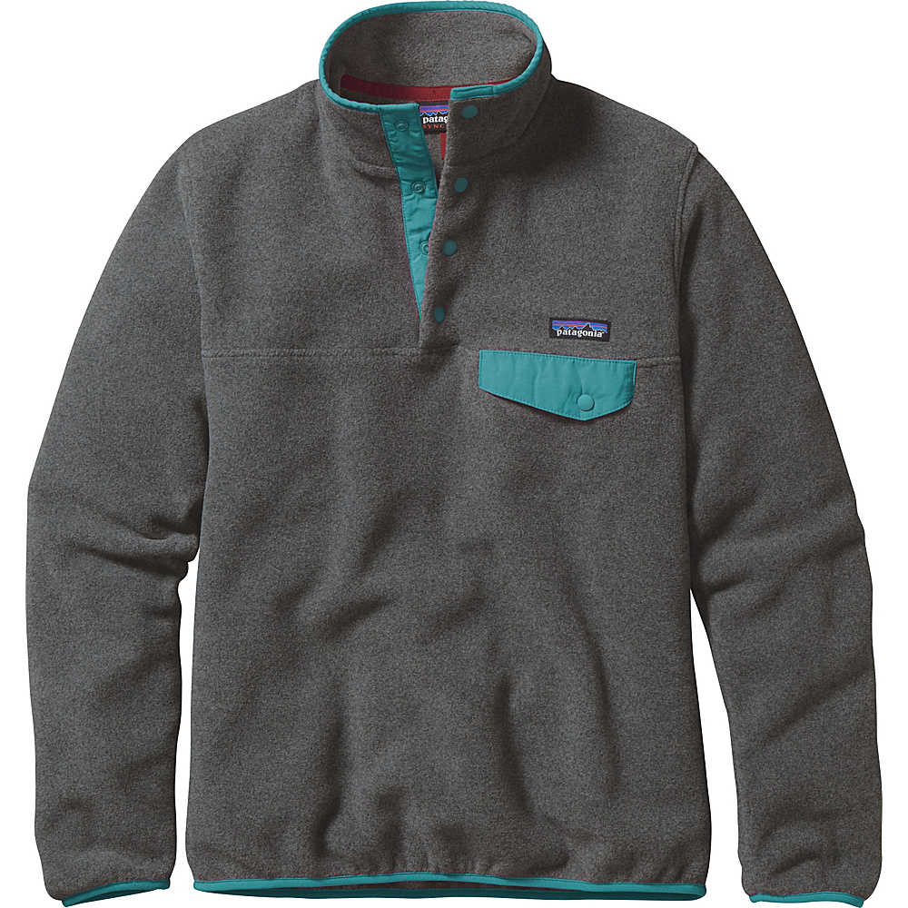 Patagonia Womens Lightweight Synch Snap-T Pullover L - Nickel with Epic Blue - Patagonia Womens Apparel - Apparel & Footwear, Women's Apparel