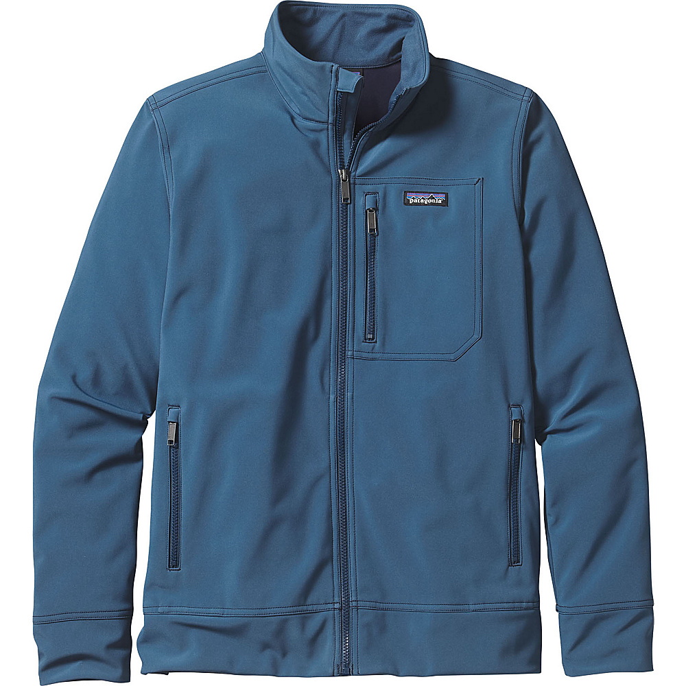 Patagonia Mens Sidesend Jacket XS - Glass Blue with Navy Blue - Patagonia Mens Apparel - Apparel & Footwear, Men's Apparel