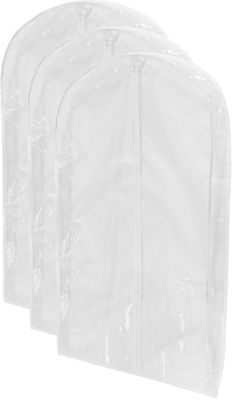 Honey-Can-Do Honey-Can-Do 3-Pack Peva Suit Bag white - Honey-Can-Do Garment Bags