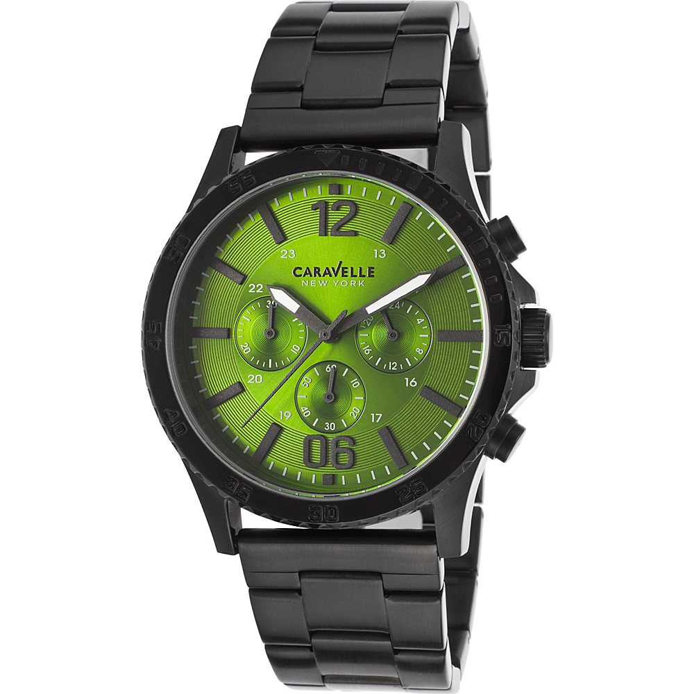 Caravelle New York Watches Mens Chronograph Ion Plated Stainless Steel Watch Black - Caravelle New York Watches Watches