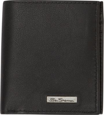 Ben Sherman Luggage Brick Lane Collection Leather Slim Square Passcase Bi-Fold Wallet Black - Ben Sherman Luggage Men's Wallets