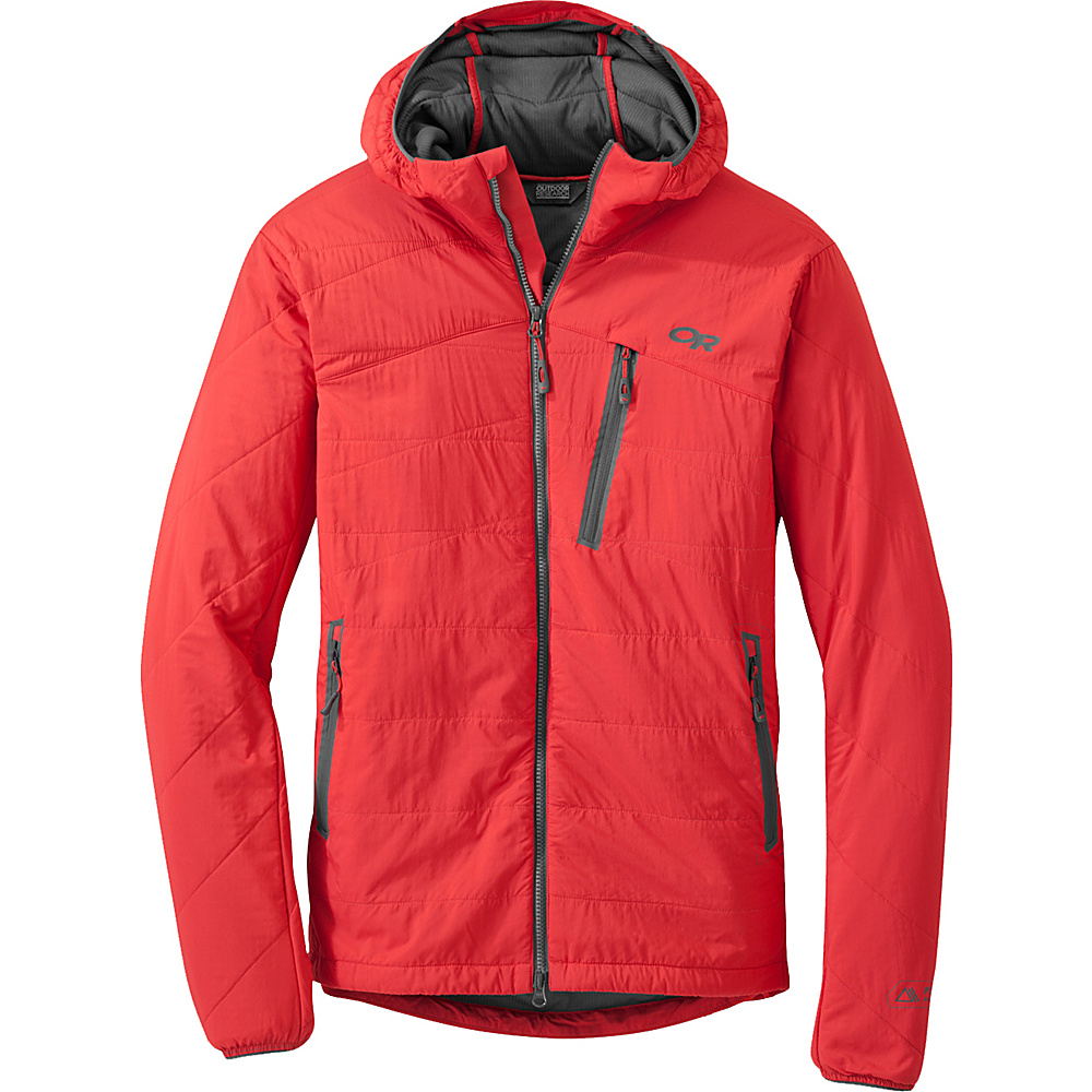 Outdoor Research Uberlayer Hooded Jacket M - Hot Sauce - Outdoor Research Mens Apparel - Apparel & Footwear, Men's Apparel
