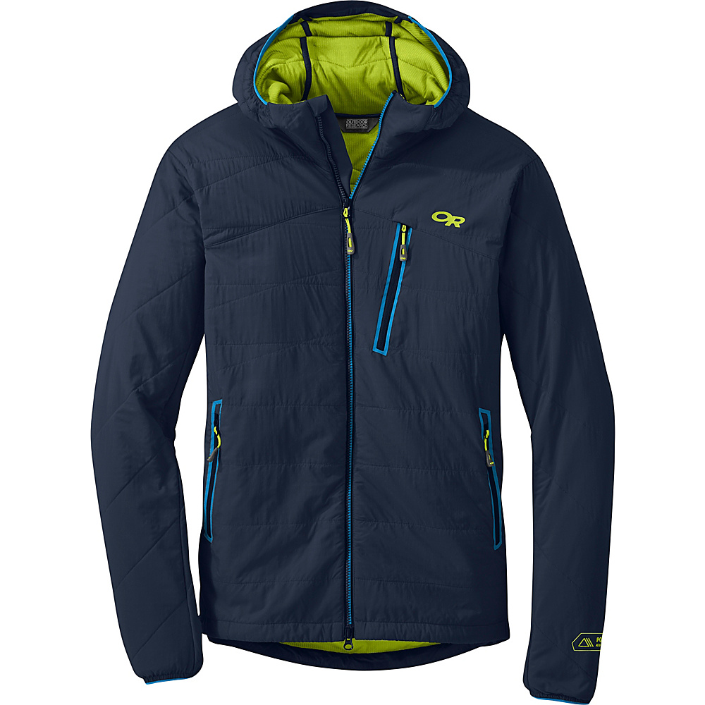 Outdoor Research Uberlayer Hooded Jacket XL - Night/Lemongrass - Outdoor Research Mens Apparel - Apparel & Footwear, Men's Apparel