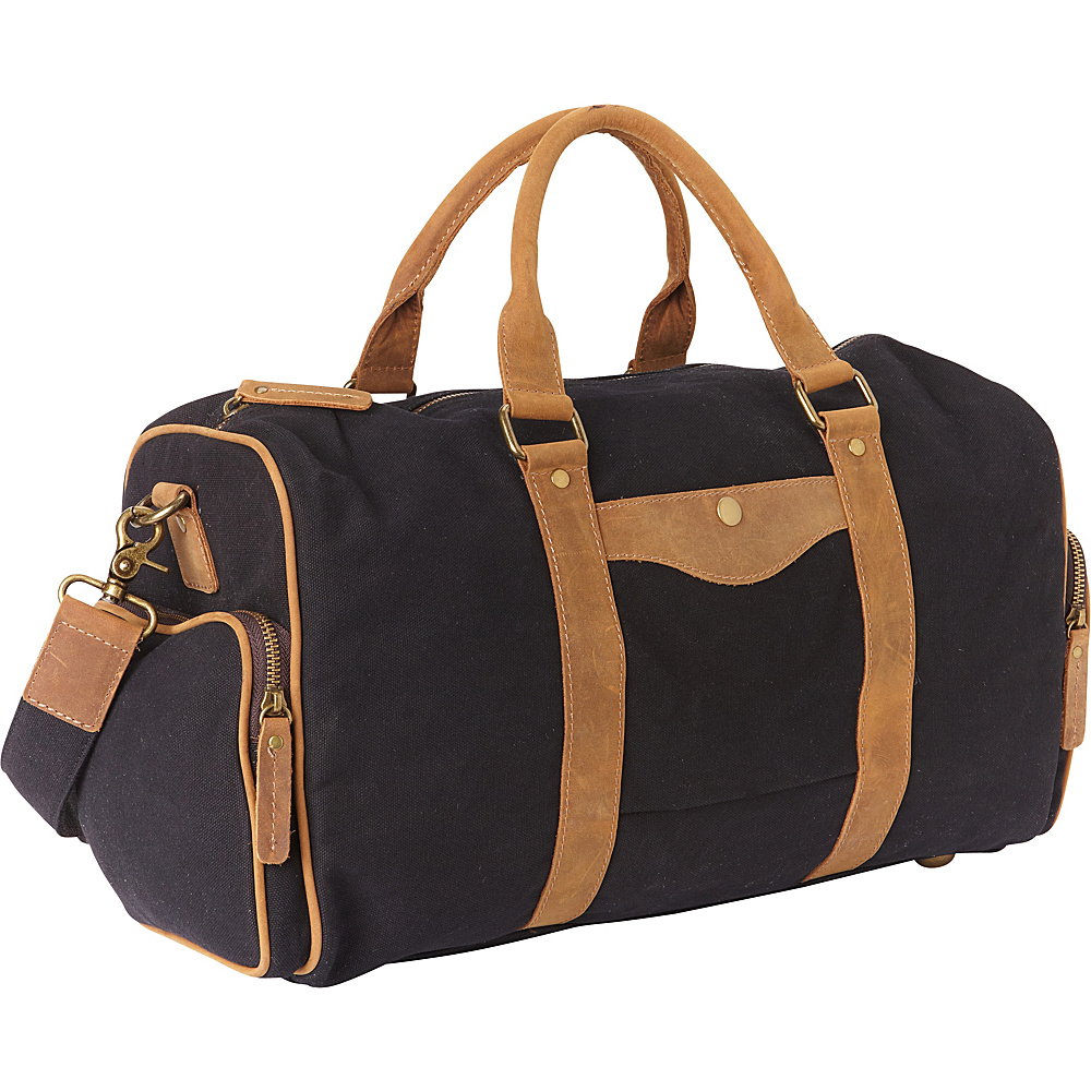 Vagabond Traveler Classic Medium Canvas Duffle Bag Black - Vagabond Traveler Travel Duffels - Duffels, Travel Duffels