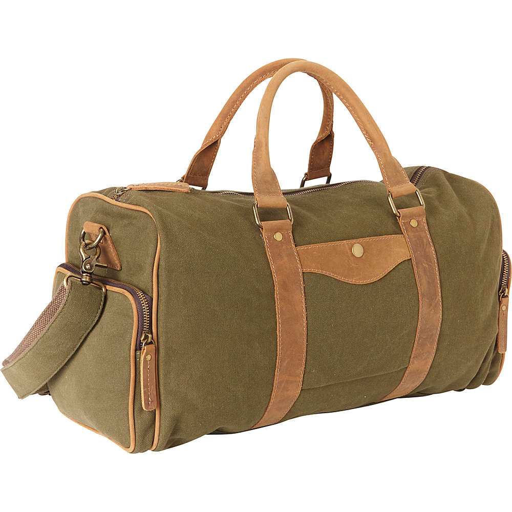 Vagabond Traveler Classic Medium Canvas Duffle Bag Green - Vagabond Traveler Travel Duffels - Duffels, Travel Duffels