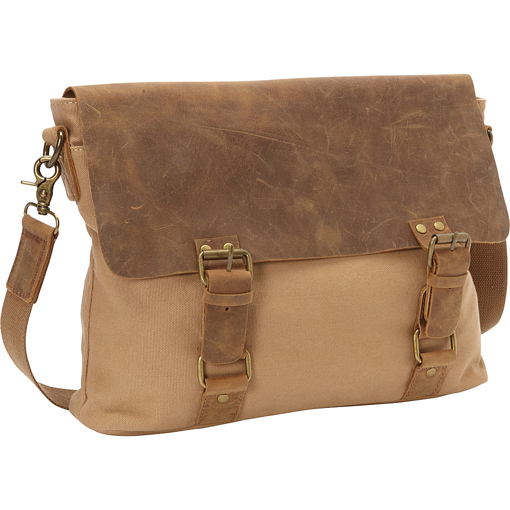 Vagabond Traveler Classic Canvas Messenger Bag Khaki - Vagabond Traveler Messenger Bags - Work Bags & Briefcases, Messenger Bags
