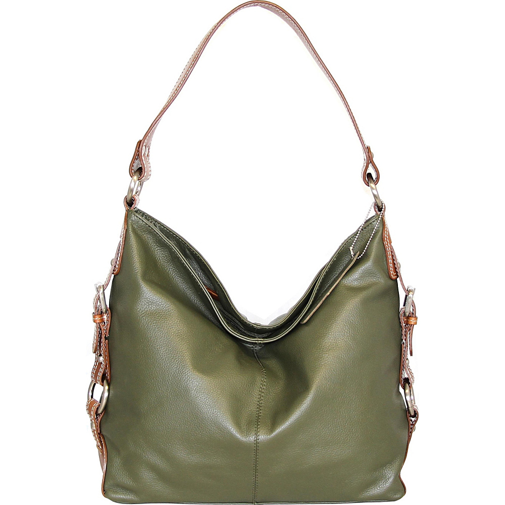 Nino Bossi Violet Bloom Bucket Bag Green - Nino Bossi Leather Handbags - Handbags, Leather Handbags