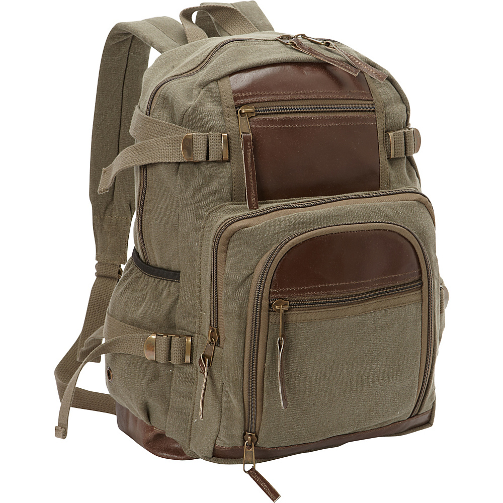 Fox Outdoor Retro Londoner Commuter Daypack Olive Drab - Fox Outdoor Everyday Backpacks