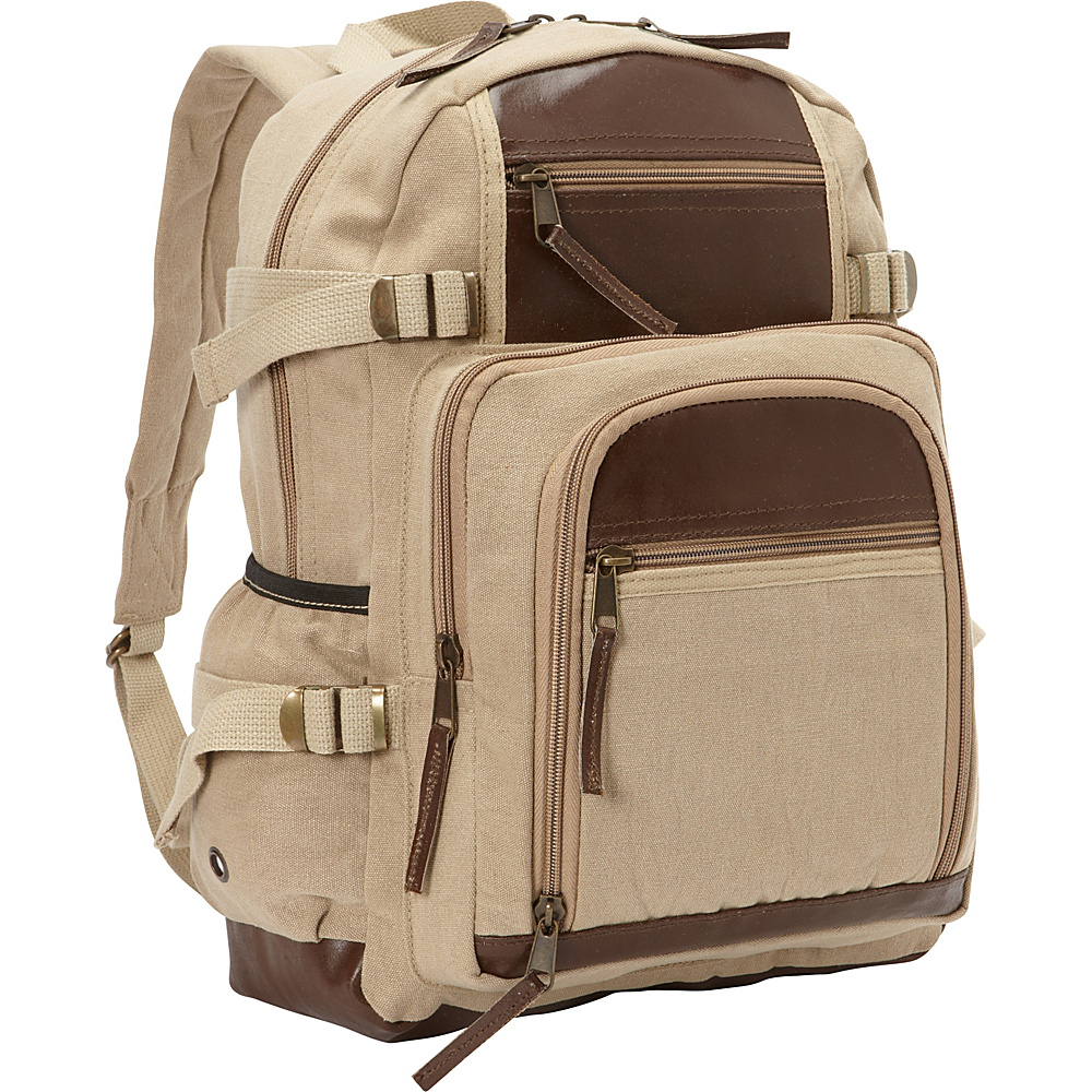 Fox Outdoor Retro Londoner Commuter Daypack Khaki - Fox Outdoor Everyday Backpacks