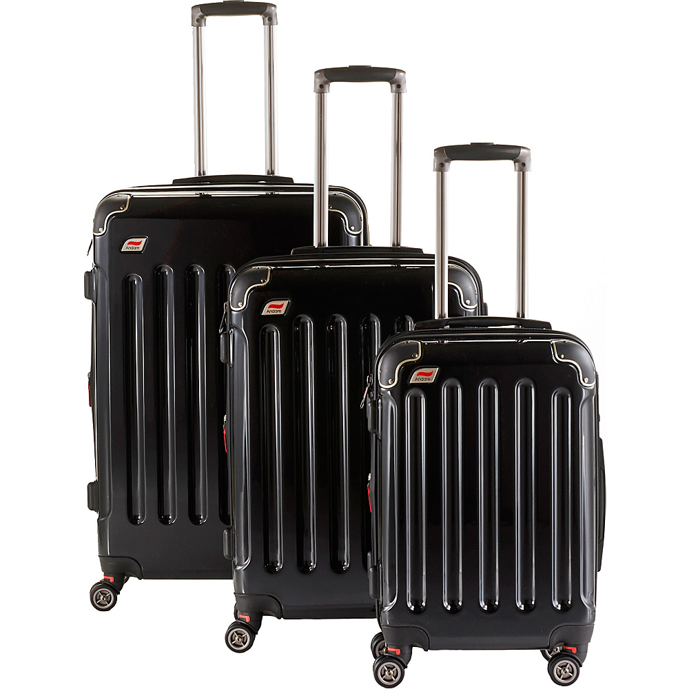 Andare Barcelona 8 Wheel Spinner Upright 3 Piece Luggage Set Onyx Andare Luggage Sets