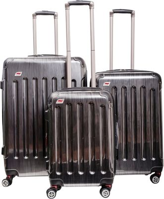 Andare Barcelona 8 Wheel Spinner Upright 3-Piece Luggage Set Pewter - Andare Luggage Sets