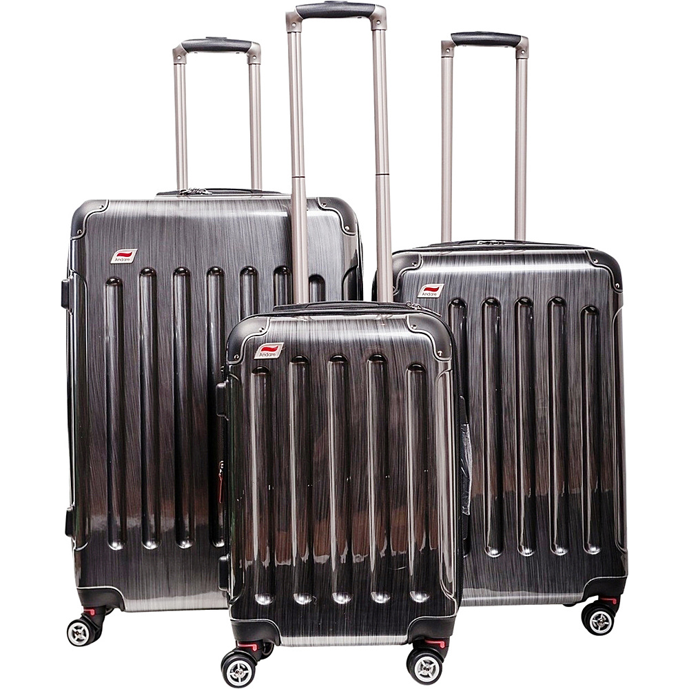 Andare Barcelona 8 Wheel Spinner Upright 3 Piece Luggage Set Pewter Andare Luggage Sets