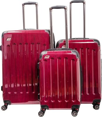 Andare Barcelona 8 Wheel Spinner Upright 3-Piece Luggage Set Ruby - Andare Luggage Sets