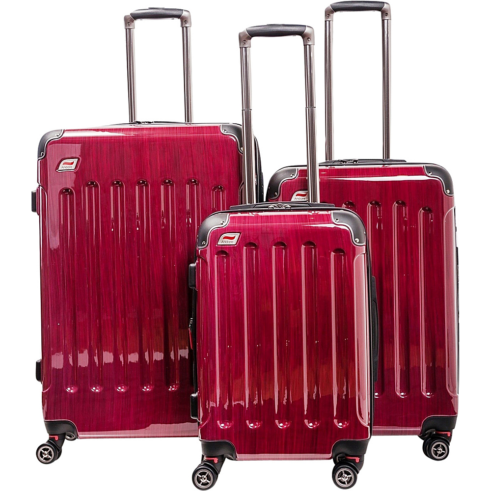 Andare Barcelona 8 Wheel Spinner Upright 3 Piece Luggage Set Ruby Andare Luggage Sets