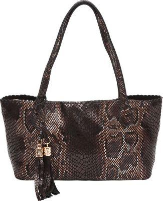 BUCO Small Snake Printed Tote Black - BUCO Leather Handbags