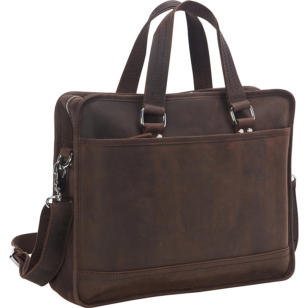 Vagabond Traveler Cowhide Leather Messenger Bag with Luggage Strap Dark Brown - Vagabond Traveler Messenger Bags - Work Bags & Briefcases, Messenger Bags