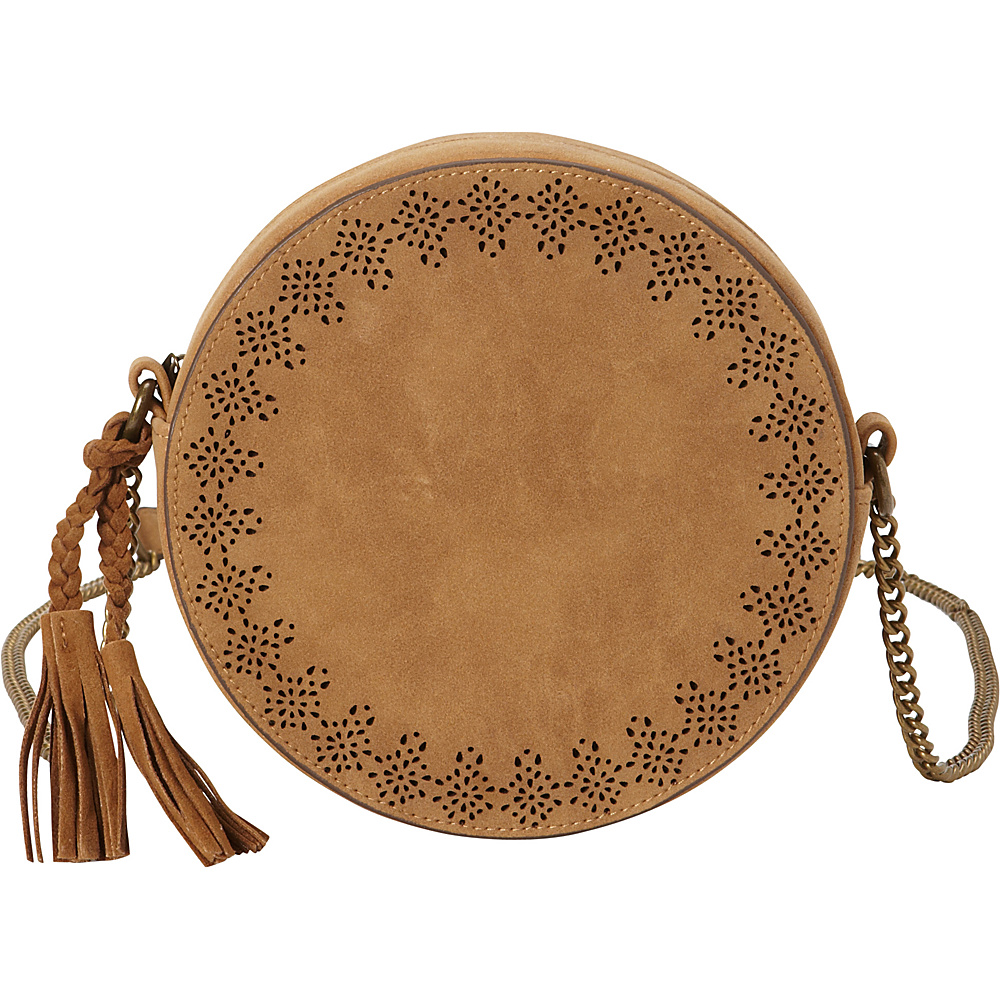 T shirt Jeans Perforated Round Crossbody with Tassel Tan T shirt Jeans Manmade Handbags