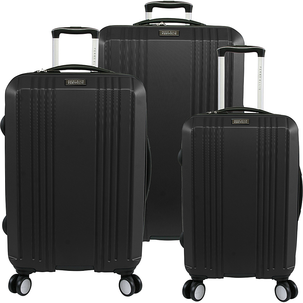 Perry Ellis Kaper Hardside Spinner 3-Piece Luggage Set Black - Perry Ellis Luggage Sets