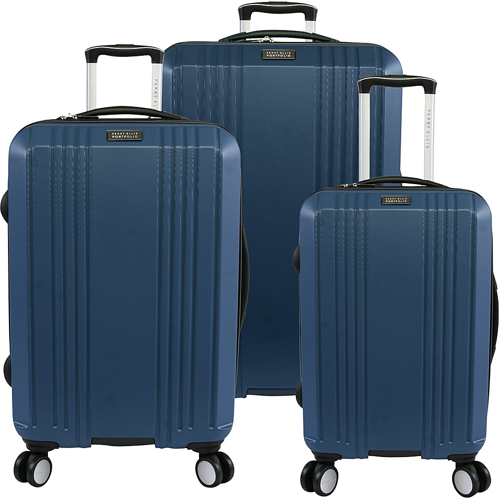 Perry Ellis Kaper Hardside Spinner 3-Piece Luggage Set Metallic Blue - Perry Ellis Luggage Sets